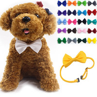 Wholesale dog collar bow tie - Adjustable Pet Dog Bow Tie Neck Accessory Necklace Collar Puppy Bright Color Pet Bow Mix Color WX-G15