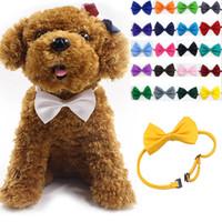 gravata borboleta venda por atacado-Ajustável Dog Pet Bow Colar Acessório gravata Collar filhote de cachorro Cor Viva Pet Bow Mix Cor WX-G15