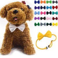 köpek boynu aksesuarları toptan satış-Ayarlanabilir Pet Köpek Bow Tie Boyun Aksesuar Kolye Yaka Köpek Parlak Renk Pet Yay Mix Renk WX-G15