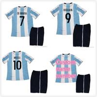 Wholesale Cheap Argentina Soccer Jersey - 2016 Argentina Kids Boy Kit Soccer Jersey 10 MESSI 7 DI MARIA 9 HIGUAIN Sports Football Shirt Cheap Free Shipping