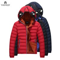 Wholesale Thicken Cotton Coats - Wholesale- 2017 men thickening of the winter fashion warm hooded pure color cotton clothes glasses prevent mist haze jacket locomotive coat