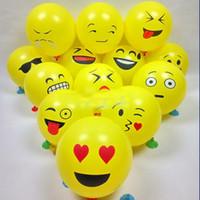 globos de latex amarillo al por mayor-Globo de Expresión de Emoji Globo de Goma Redondo 12 Pulgadas de Látex Cara Sonriente Linda Fiesta de Expresión de Globos Amarillos Festival de Decoración Juguetes Para Niños