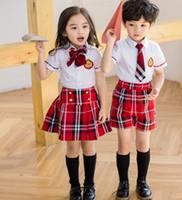 Wholesale Kids Necktie Shirts - 2017 New Kids School Uniform Dress Set 2PCS Set Girl Bow Tie White Skirt + Red Short Skirt Boys Necktie White Shirts+ Red Short Pants B4606