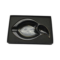 Wholesale Commodity Goods - Good Commodity COHIBA Ashtray Anniversary Unique Black Leaf Shaped Ceramic Cigar Ashtray with a gift box