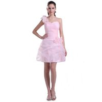 um ombro organza dama de honra vestidos venda por atacado-2017 new arrival curto vestido de dama de honra rosa senhoras coquetel de um ombro vestido de baile com flor handmade