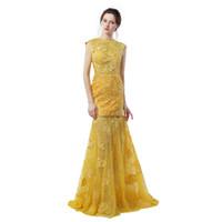 gelbe verlobungskleider großhandel-Verlobungskleider 2019 Robes De Soiree Longue Gelb Lace Mermaid Abendkleider Sexy Backless Prom Dress