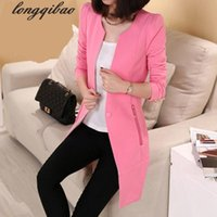 Wholesale One Button Slim Female Jacket - Wholesale- Spring and autumn solid color one buckle small suit jacket female Korean Slim long section of the long-sleeved suit tide