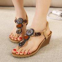 Wholesale Boho Wedges - Wedge sandals for women super hot handmade beading boho look flip flop toepost woman platform sandals YonDream-247