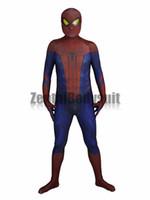 traje de spiderman increíble de zentai al por mayor-Increíble traje de hombre araña Traje de Spiderman-3D Impreso cosplay Disfraces de Fiesta de Halloween Zentai