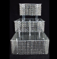 Wholesale Cupcake Shipping Supplies - 2017 New Year Crystal Acrylic Wedding Cake Stand Dessert Table Cake Rack Wedding Centerpiece Cupcake Stand 3 layer squre