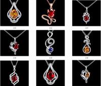 Wholesale Crystal Heart Platinum Necklace - Diamond Pendant Necklace Cubic Zircon 925 Sterling Silver Quality Romantic Platinum Plated Pendants & Necklaces Wholesale Jewelry