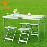 Wholesale Furniture End Tables - Wholesale- Outdoor camping 120x70x69CM High-end aluminum split-lift chairs Five-piece Portable Folding Table Desk Furniture Outdoor Picnic