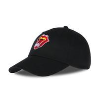 Wholesale Lip Snapback - 2017 red lips baseball hat embroidered baseball cap men hat pure color cotton lady black snapback golf hat mutsen mannen k popul
