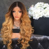 Wholesale Heat Resistant Wigs Blonde - natural look blonde body wave synthetic lace front wig with dark roots high quality black blonde ombre heat resistant fiber hair women wigs