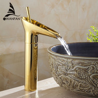 Wholesale Vanity Ceramic Sink Sale - Wholesale- Hot Sale Wholesale and retail Promotion Waterfall Bathroom Golden Faucet Single Handle Vanity Sink Mixer Tap Deck Mount AL-9207K