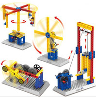 Wholesale Teaching Machine - Assembling teaching mechanical group electric building block toy gift early education merry-go-round windmill target machine YH535