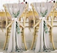 silla de barco al por mayor-Imagen real 30D Chiffon Chair Back Fajas formal Ocasión Wedding Sashes Party Chair Covers Envío gratis