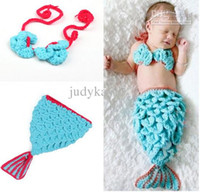 Wholesale Toddler Mermaid Props - Infant Toddler Baby Mermaid Modelling Pure Wool Hat 2pcs Set Newborn Photography Props Beanies Caps Pure Handmade 5pcs lot QS359