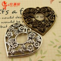Wholesale Antique Bronze Charms Butterfly - 31*30MM alloy ancient bronze filigree heart love butterfly pattern flower charms antique silver metal pendant jewelry wholesale