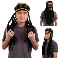 Wholesale caribbean dresses - Wholesale-Bob Marley Reggae Jamaican Rasta Hat Dreadlock Wig Caribbean Beret Cap Dress
