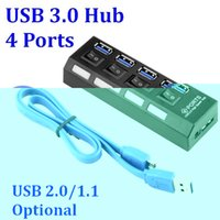 Wholesale 100pcs USB Hub Ports Super Speed Gbps port USB Hub With on off Switch For Windows Mac OS Linux PC Laptop