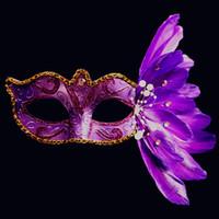 Wholesale Christmas Festive Masks - Fashion Women Festive Sexy Halloween Venetian eye mask masquerade Paint Feather Easter Dance Club Party Fancy Dress Holiday Xmas Masks DHL