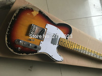 Wholesale Sunset Guitar - High quality handmade old version of TL electric guitar sunset color EMS postage