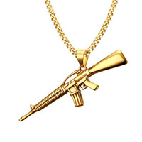 Wholesale Men Necklace Military - Men Necklaces Gold Plated AK-47 Assault Gun Rifle Iced-Out Pendant Necklace Stainless Steel Hiphop Military Jewelry PN-555