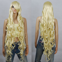 Wholesale Extra Long Curly Cosplay Wig - Wholesale free shipping >>>>100cm Blonde Extra Long Curly Cosplay Wigs Seamlessly Contours 3A_613