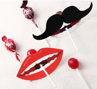 Wholesale Wholesale Mustache Candy - New 50Pcs lot Lady Lips Black Mustache Deco Paper Kids Lollipop Paper Decorative Card Candy Stick Wedding Birthday Party Decor Free Shipping