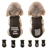 Wholesale xs dog sweaters - Hipidog XS-XL Pet Puppy Cat Dog Vest Black Letter Printed Vest T Shirts Summer Clothing Apparel Costume Apparel for Dogs Cats Pets