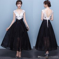 Wholesale Banquet Tea - Fashion Black Lace Embroidery Cap Sleeves Short A-line Evening Dresses The Bride Banquet Elegant Party Cocktail Dress Formal Prom Dress