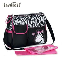 Wholesale Nappies Patterned - Wholesale- Hot Sale Fashion Baby Diaper Nappy Changing Bag Zebra And Giraffe Pattern Maternity Mummy Bag Baby Stroller Bag