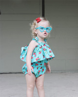 Wholesale Size Girl Bloomers - Little baby girls romper INS kids cute strawberry printed lace-up bows jumpsuits child falbala bloomers jumpsuits girl summer clothing T4405