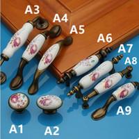 цветочные двери тянет оптовых-96 мм 128 мм красный цветок керамический кухонный шкаф ящик ручки ручки 76 мм бронзовый шкаф комод ручки 5