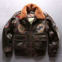 Wholesale Leather Bomber Jacket Brown Xl - 2018 G1 air force flight bomber jackets with lamb fur collar AVIREXFLY vintage brown sheepskin leather jackets