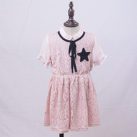 Wholesale Girls Patching Dress - 2017 Baby Girl Summer Dress Boat Neck Ruffle Side Bowknot Short Sleeve Lace Print Star Patch Princess Dress Lovely Fashion Style