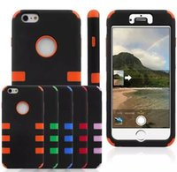 Wholesale Silicone Rubber Iphone Robot - Cellphone case Hybrid Shockproof Robot Case Cover For Apple Iphone 7 6s with 3 in 1 Impact Plastic+Silicone Rubber Rugged