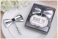 Wholesale favor bows - Hot sell black bow tie love red wine bottle opener zinc alloy hotel tableware wedding favor gift