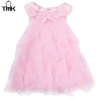 Wholesale flowers birthday month for sale - Group buy Sweet Flower Turn Down Collar Sleeveless Pure Color Infant Baby Girls Summer Dress Month Toddler Girls Birthday Party Dress