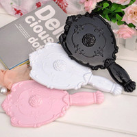 Wholesale Hand Rose Mirror - 20X LOT Vintage Rose Cosmetic Mirror Plastic Makeup Mirror Cute Girl Hand Make Up Mirror Purple,Red,Black,White,Pink#MD18