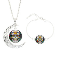 Wholesale Girl Skull Pendant - 2pcs set European Skeleton Necklace Bracelet Jewelry Long Chain Punk Skull Pendant Design Collar Choker Necklace bracelet Girls boys Jewelry