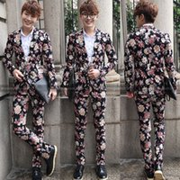 Wholesale Unique Men S Wedding Suits - Unique Men Funky Flower Quality Prom Wedding Groom Premium Suit Set Pants Blazer