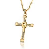 fast furious gifts NZ - The Fast and The Furious Cross Pendant Long Necklace 18K Yellow Gold Plated Crystal Jesus Cross Men Jewelry Boyfriend Christmas Gift