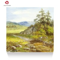 Wholesale Country Paint - Hand painted oil painting Country classical landscape grazing man