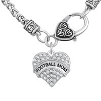 Wholesale Thick Charm Chain Necklace - FOOTBALL MOM Word Engrave Pendant Friendship Necklaces Fitness Thick Heart Necklaces Crystal Heart Lobster Clasp Jewelry Gift for MOM