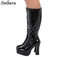"Wholesale Gogo Fashion - Sorbern 2017 Fashion Boots Women Funtasma Exotica-2000 4"" Chunky Heel Platform Gogo Boot Knee High Boot Sexy Leather Shoes Western Style"