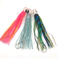 Wholesale Double Skirt Fishing - Great 10.5inch Soft Resin Head with Double Octopus Skirt and Hook Rig Lure Trolling bait Fishing Lure