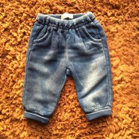 Baby Jeans New Design Girls Denim Long Pants Turn Up Cuff Primavera Inverno Bambini Abbigliamento per bambini