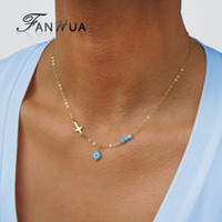 Wholesale Color Bead Necklace - Fashion Silver Gold Color Chain with Blue Beads Eye Cross Pendant Necklace For Women Boho Chic Jewelry